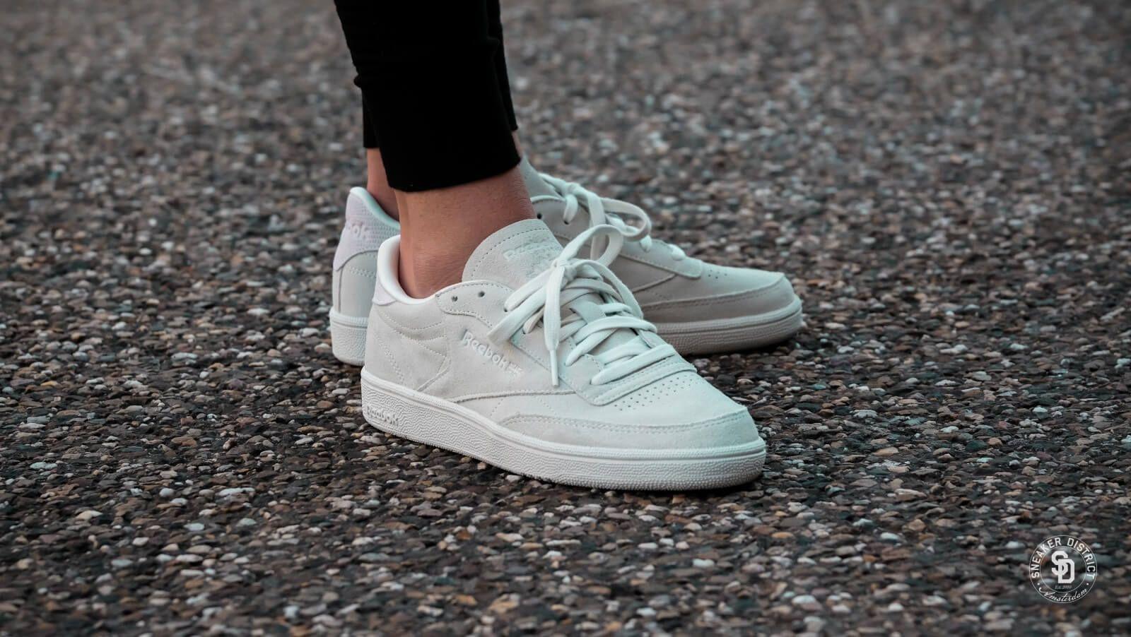 Reebok Women S Club C 85 Nubuck Opal White Cm9054 Reebok Women Reebok Sneakers