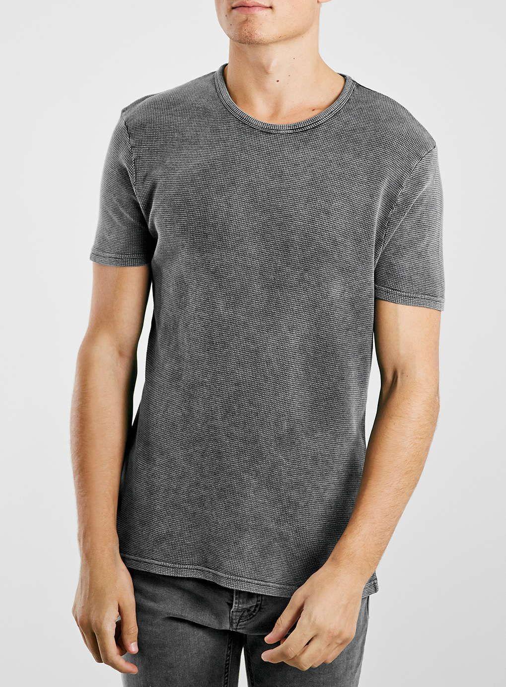 86f751878b Grey Acid Wash Waffle T-Shirt