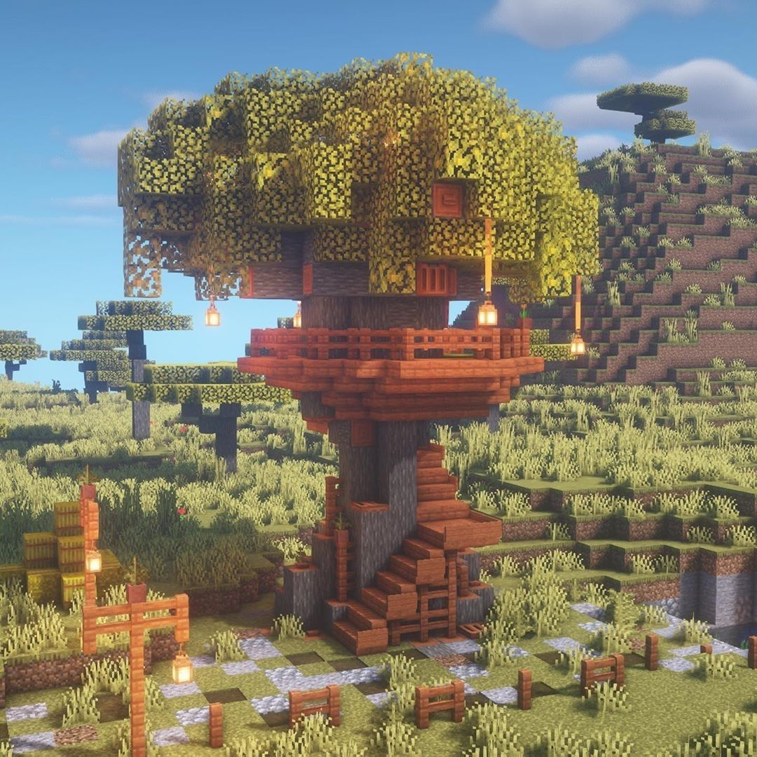 Minecraft Builds  U0026 Creations On Instagram   U201cacacia Treehouse Build  Very Cute And Easy