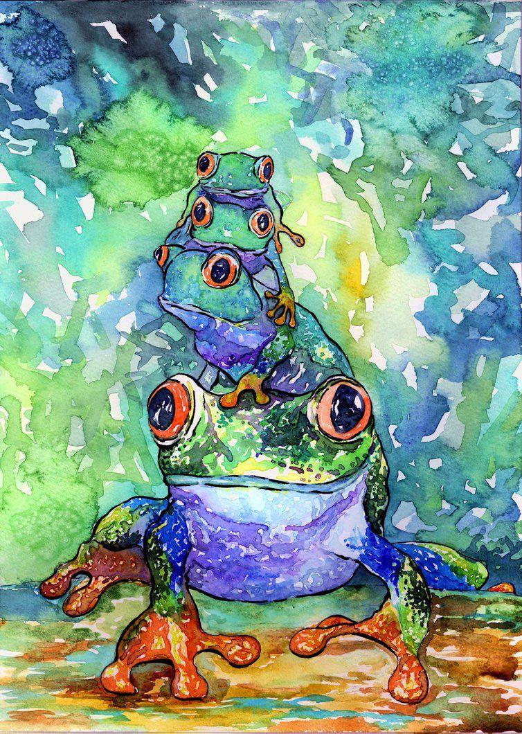 Stack O Frogs By Onyana Frog Art Animal Art