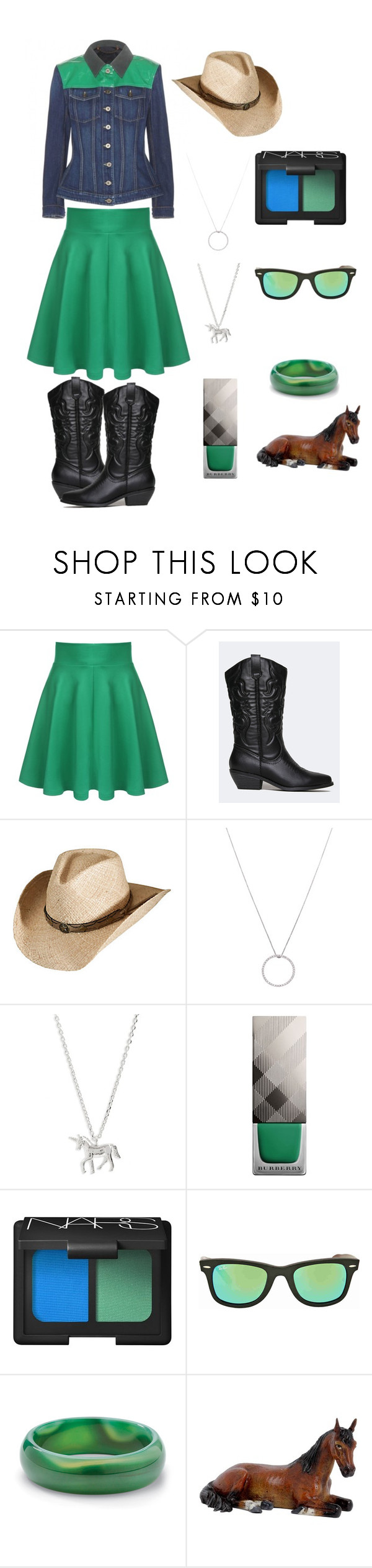 """""""Turquoise Rancher"""" by jdmartinrd on Polyvore featuring Soda, Overland Sheepskin Co., Roberto Coin, Estella Bartlett, Burberry, NARS Cosmetics, Ray-Ban and Palm Beach Jewelry"""