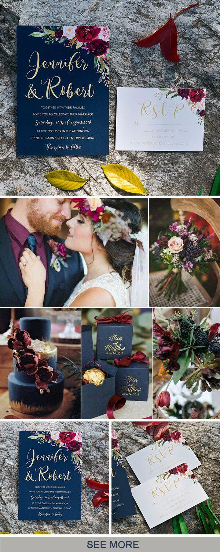 Viking wedding decorations october 2018 navy blue marsala and gold fall wedding color and invitation