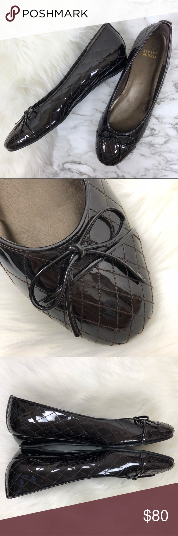 Quilted patent leather bow