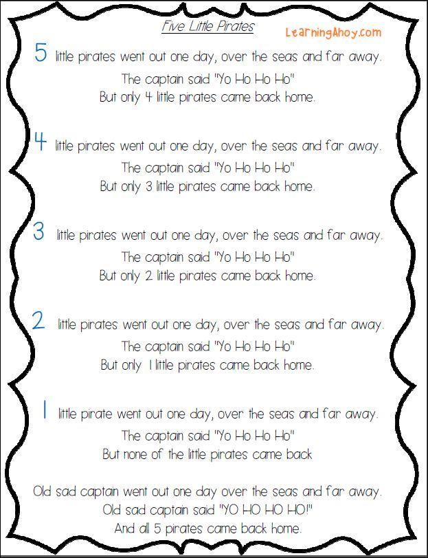 5 little pirates (freebie) | mailbox magazine | Preschool