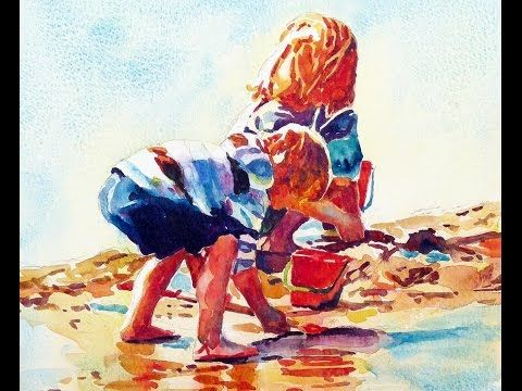 Painting A Watercolour Beach Kids Youtube Watercolor Painting