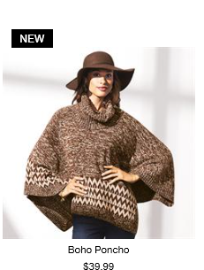 Rock the hippie-chic look to the hilt in this scene-stealing poncho. With ribbed neck and buttons on the left shoulder to wear open or closed, the poncho is having a major fashion moment.  · 60% Cotton, 40% Acrylic