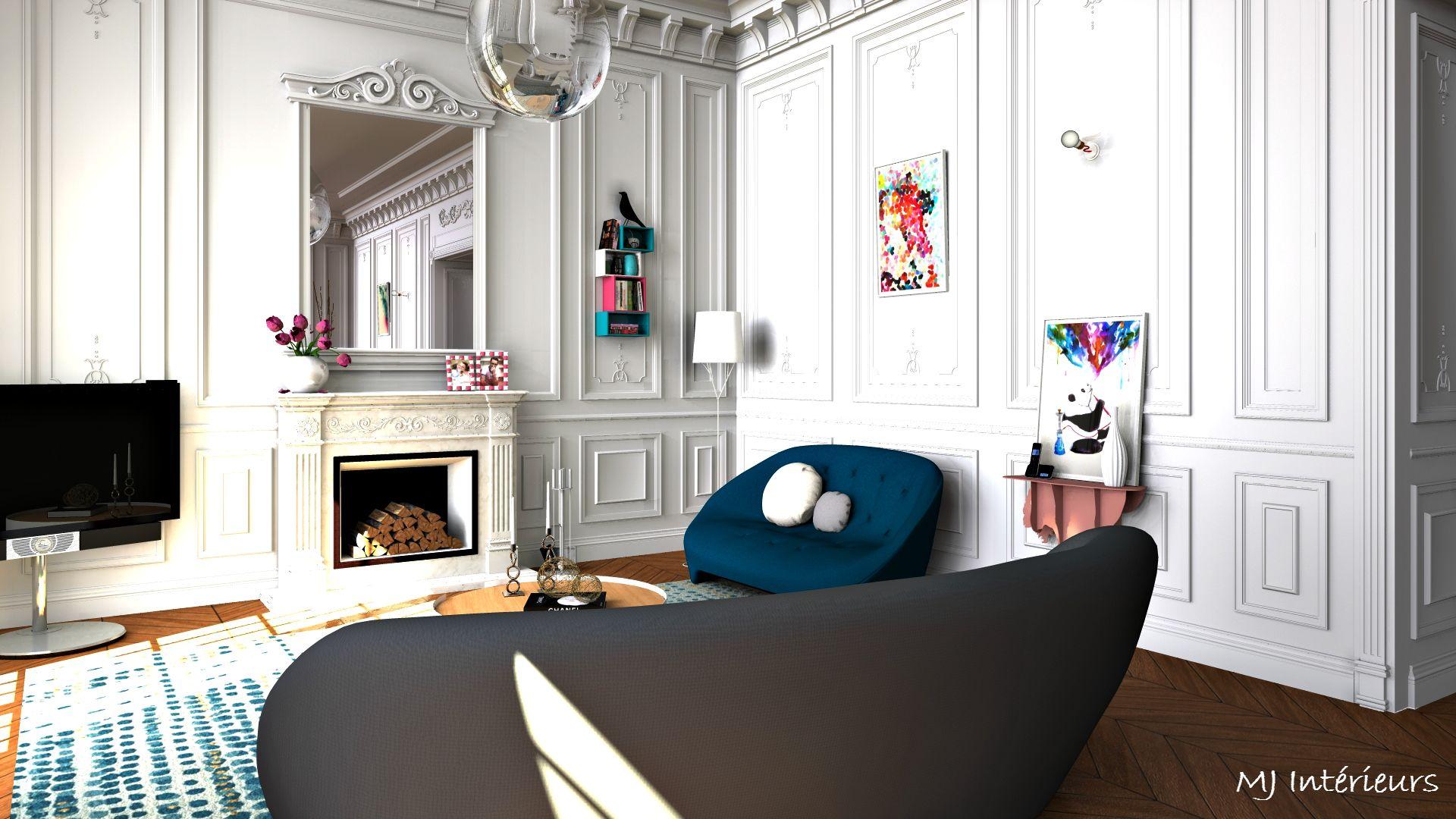 Salon coloré au design contemporain dans un appartement de style haussmannien à Bordeaux