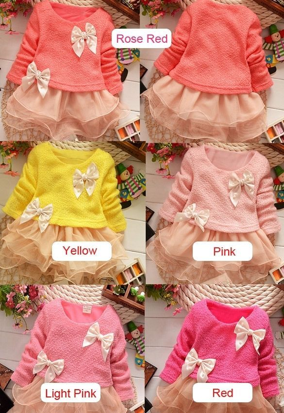 Kids Toddlers Baby Girls Princess Party Long Sleeve Dress Kids Flower Dress 1-5Y
