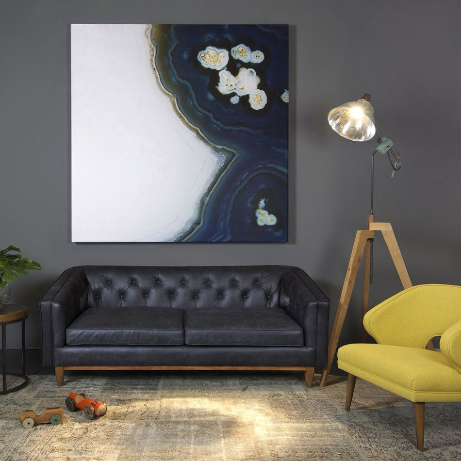 This Sleek Natty Leather Sofa Features A Mid Century Modern Design With A  Low Profile Button Tufted Back, Upholstered On Lush Italian Black Leather.