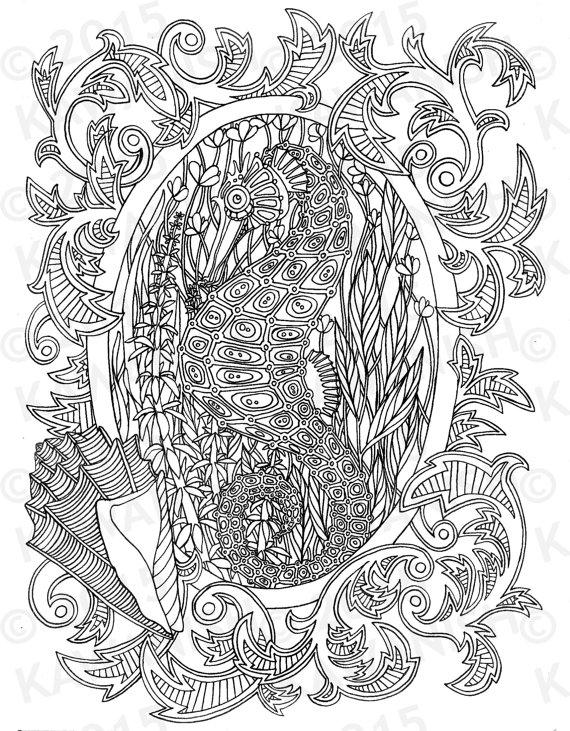 Seahorse Underwater Adult Coloring Page Gift Wall Art Ocean Line