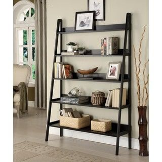 Contemporary Black Leaning Ladder 5 Tier Bookcase