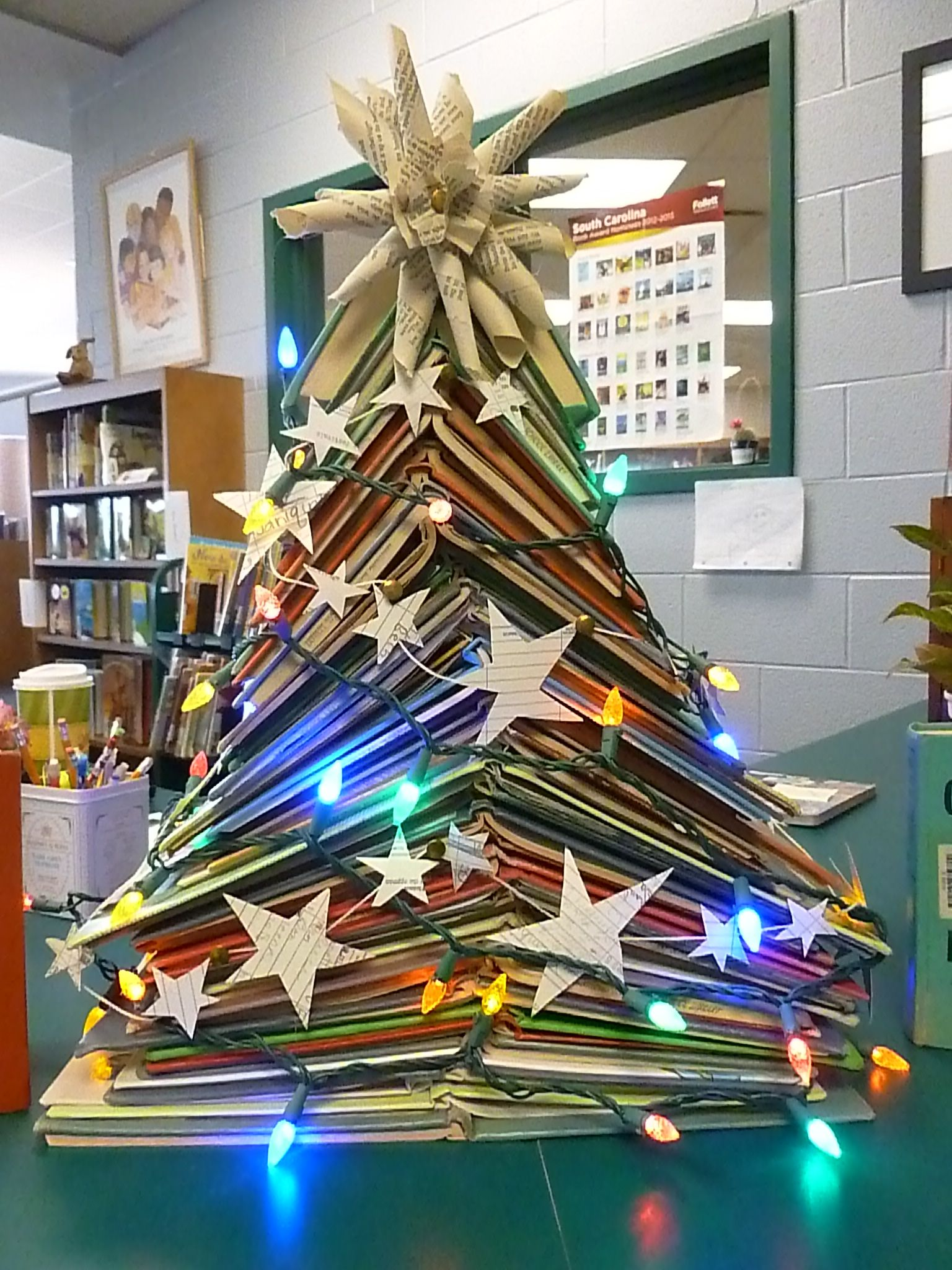Library Christmas Tree Discarded Books Card Garland