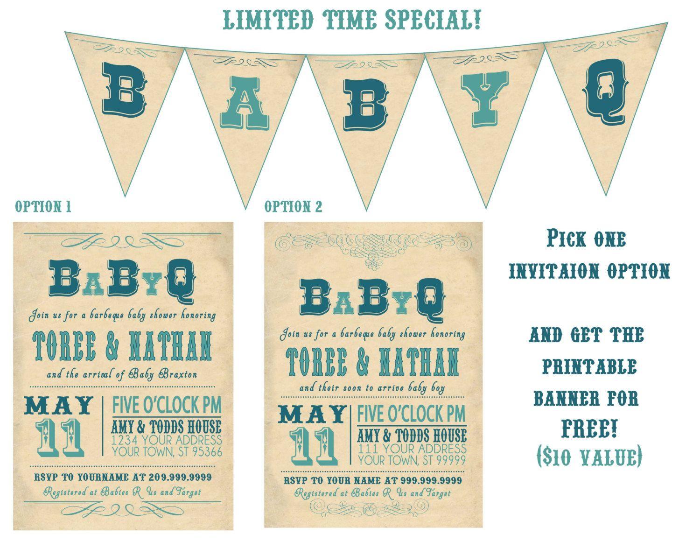 babyq bbq BABY SHOWER invitation VINTAGE couples. $18.00, via Etsy ...