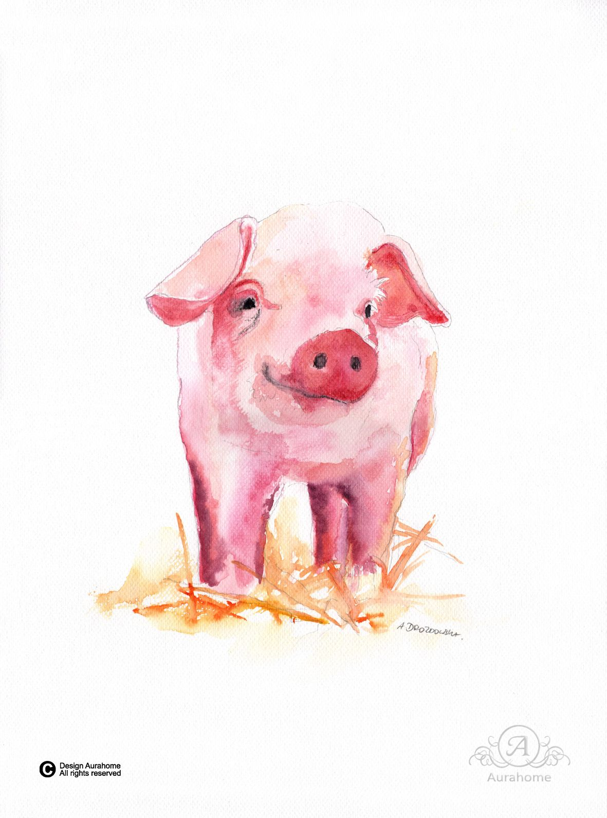 Pig Watercolor painting for children room but not only. http://pl.dawanda.com/shop/aura-home