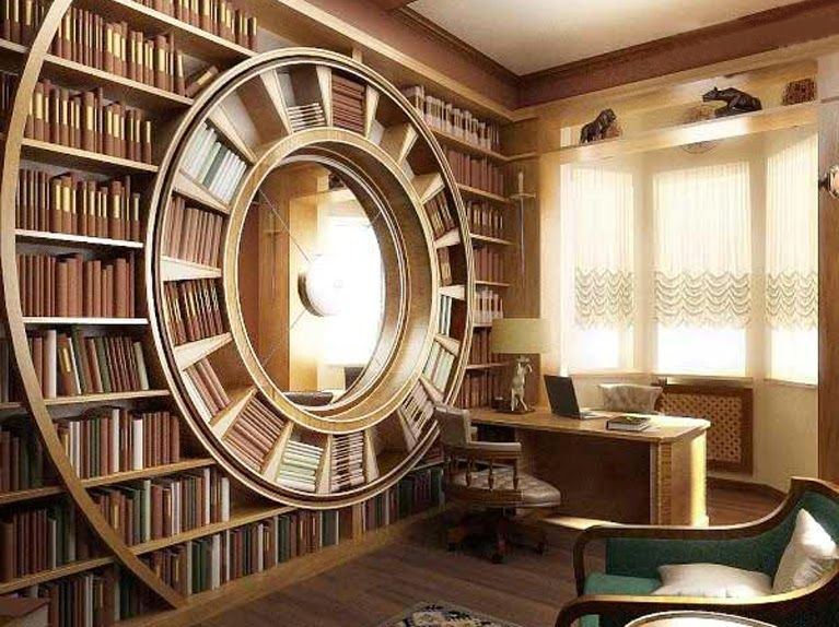 Unusual #Library, it looks like a #clock! Love the centred  #aliceinwonderland