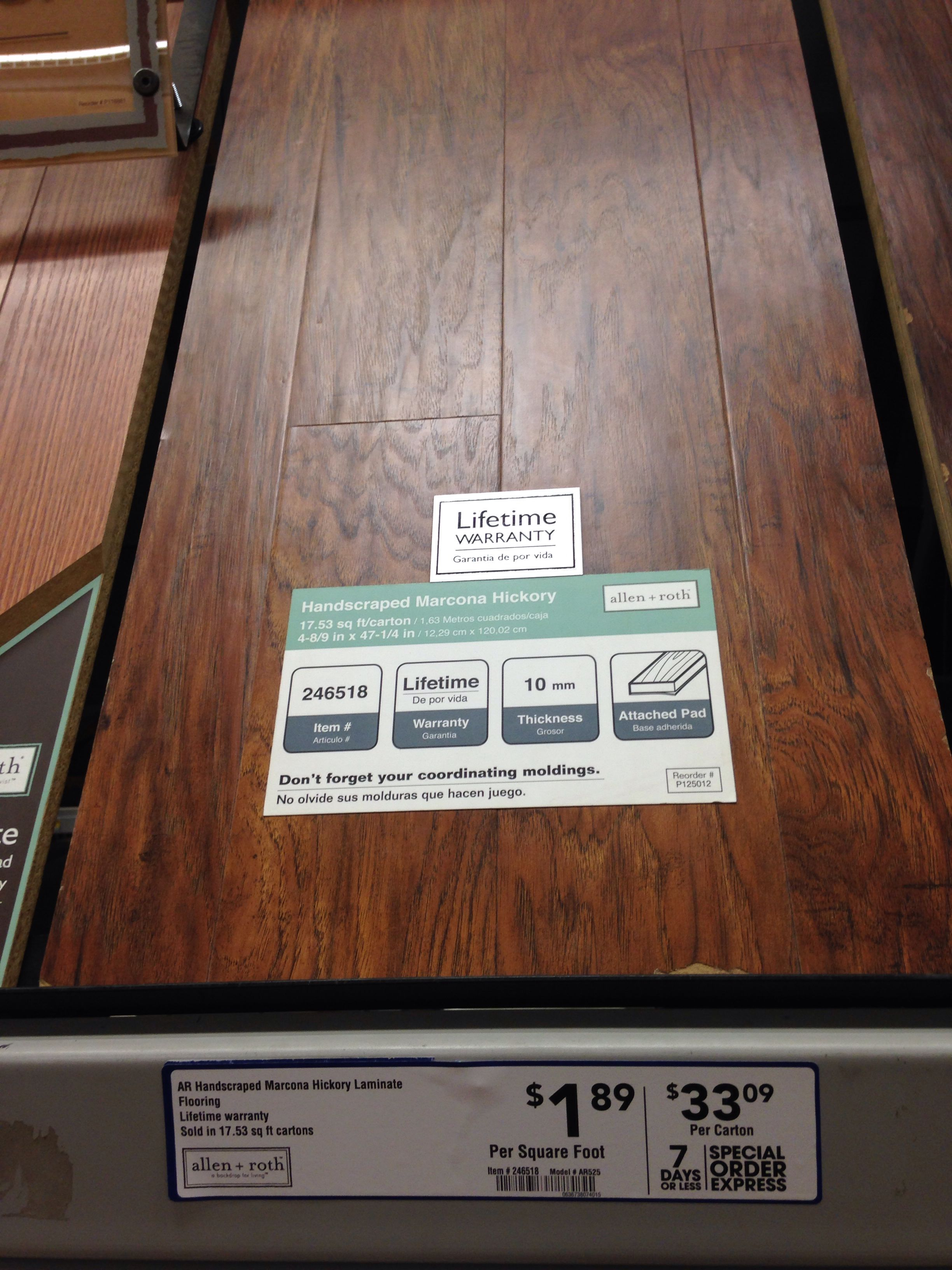 Allen Roth 10mm Attached Pad Laminate Wood Floor 1 89 Sq Ft