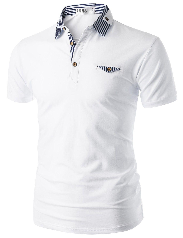 Doublju Mens Short Sleeve Polo Shirt With Neck Band Detail Cmtts06 Kaos Polos Twotone Navy Blue