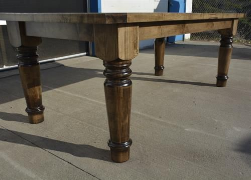 Custom Wormy Maple Spindle Harvest Table with Extensions