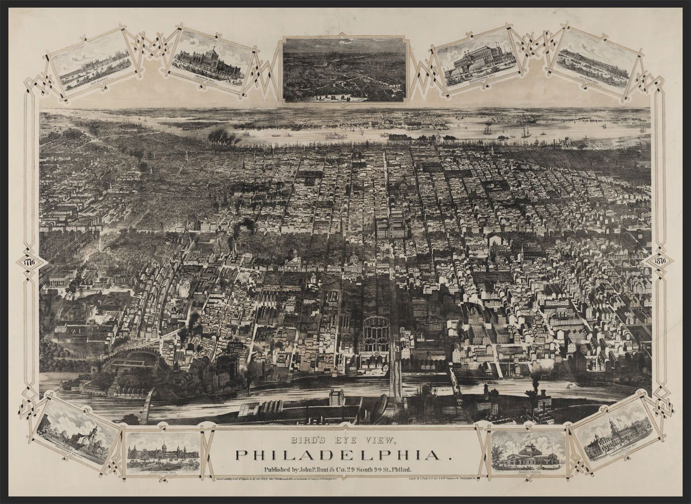 Bird/'s Eye View 1923 Washington DC Vintage Style City Map 24x36
