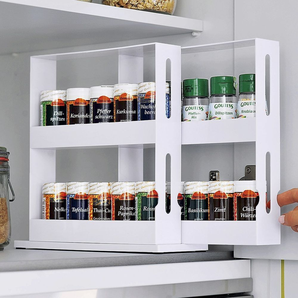 Elegant Gewürzregal Weiss, Groß, Innenschrank, Regal, Küche, Gewürzständer, Ohne  Bohren,   EBay