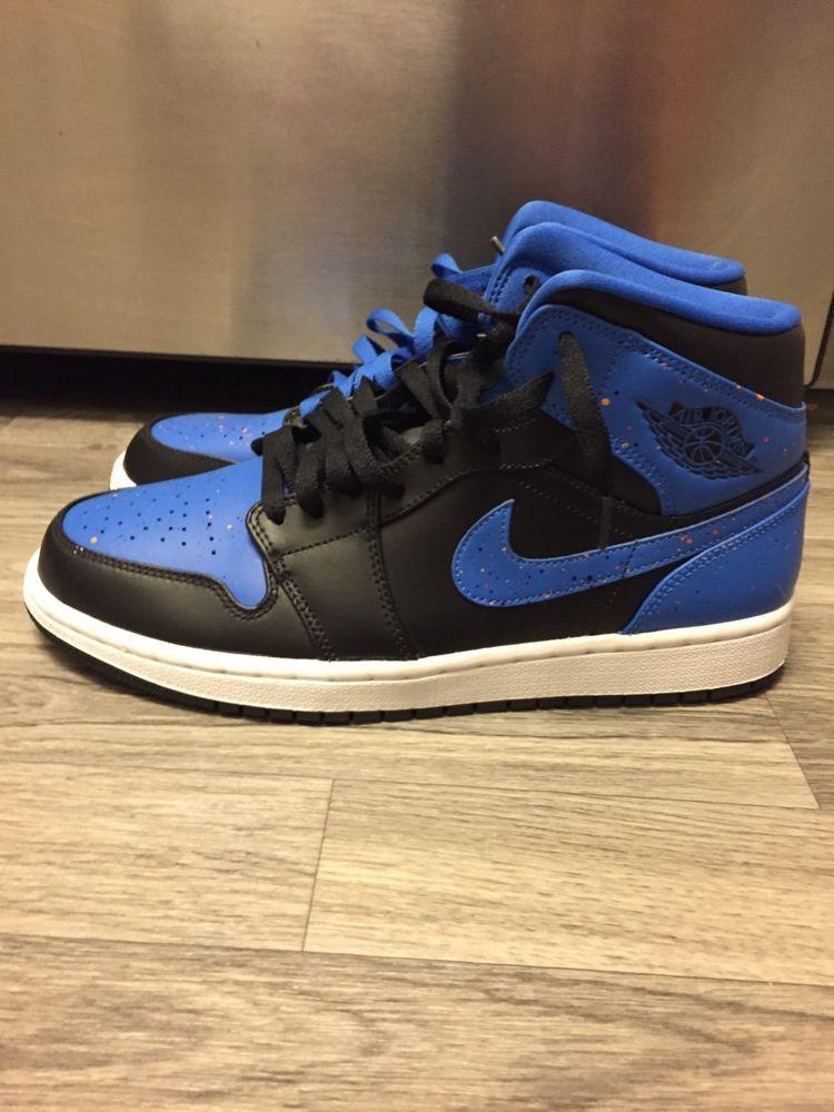 Nike Men S Air Jordan 1 Retro Sneakers Size 8 5 Us Black Blue