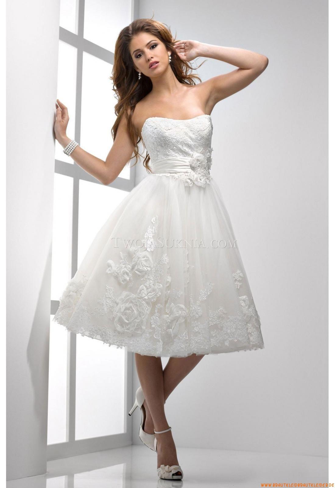Designer Knielang Kurze Romantische Brautkleider  Brautkleid kurz