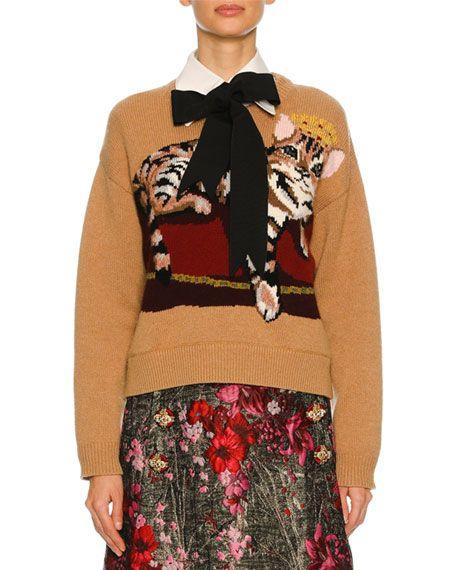 123a08a8a666d9 DOLCE & GABBANA Knit Sweater W/Cat Intarsia, Nude. #dolcegabbana #cloth #