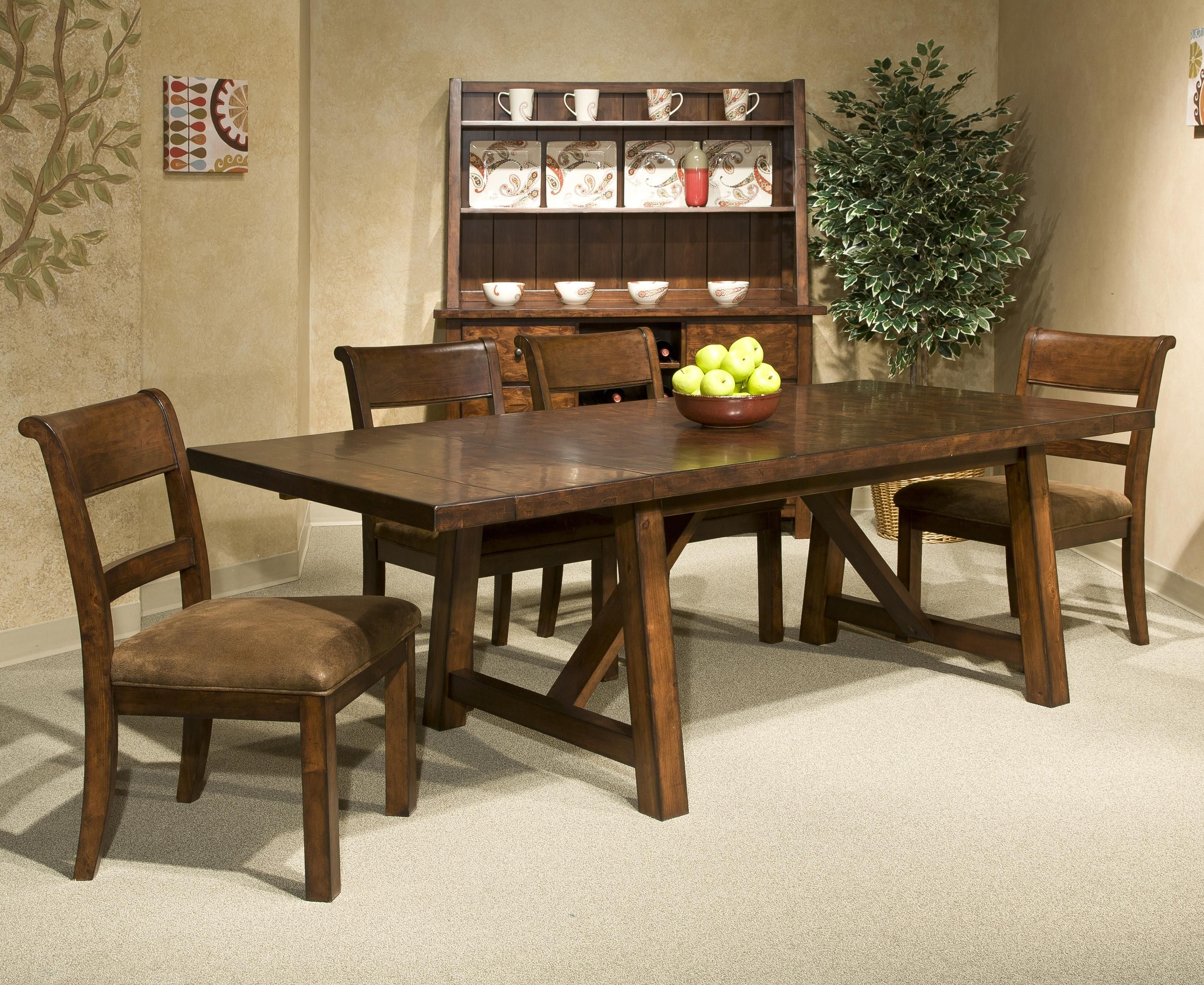 Pennsylvania House Dining Room Table Bench Creek 5 Piece Trestle Table Upholstered Chairs Dining Set