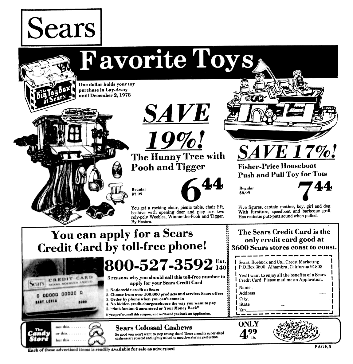 Sears Toys, Credit Cards & Cashews