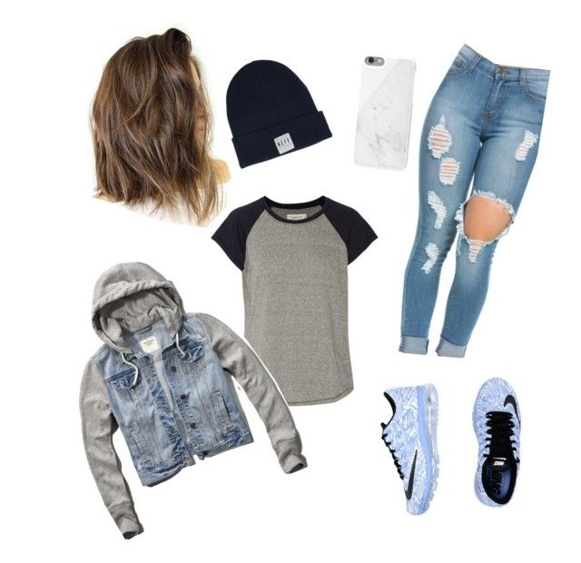 """""""Nike Neff"""" by racheljoelle ❤ liked on Polyvore featuring NIKE, Current/Elliott, Neff, Abercrombie & Fitch and Native Union"""
