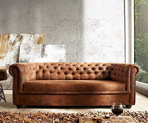 Chesterfield Sofa Wildlederoptik 3 Fauxsuede Chesterfield