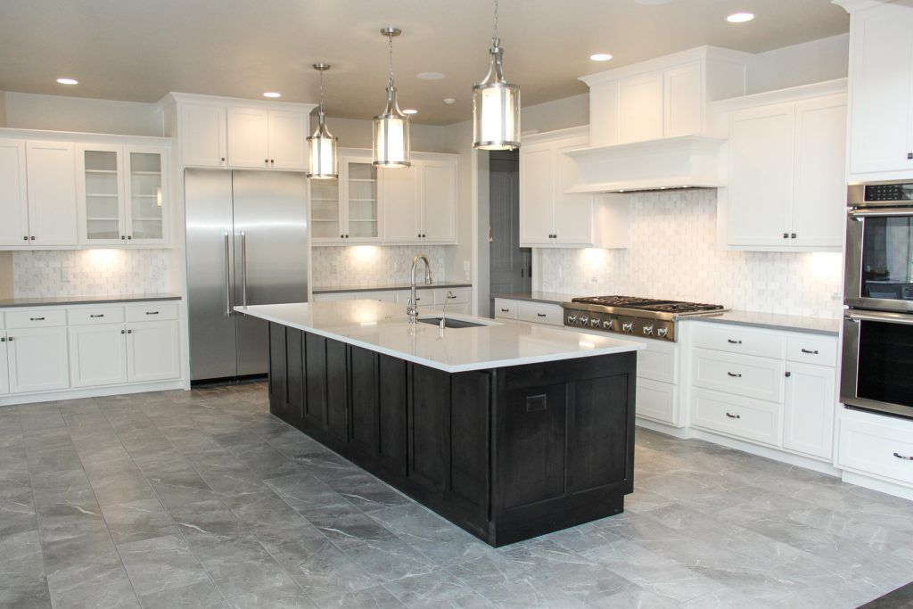 Muted Grey Tile Kitchen Floor With White Tile Backsplash Grey Tile Kitchen Floor Grey Kitchen Tiles Kitchen Flooring