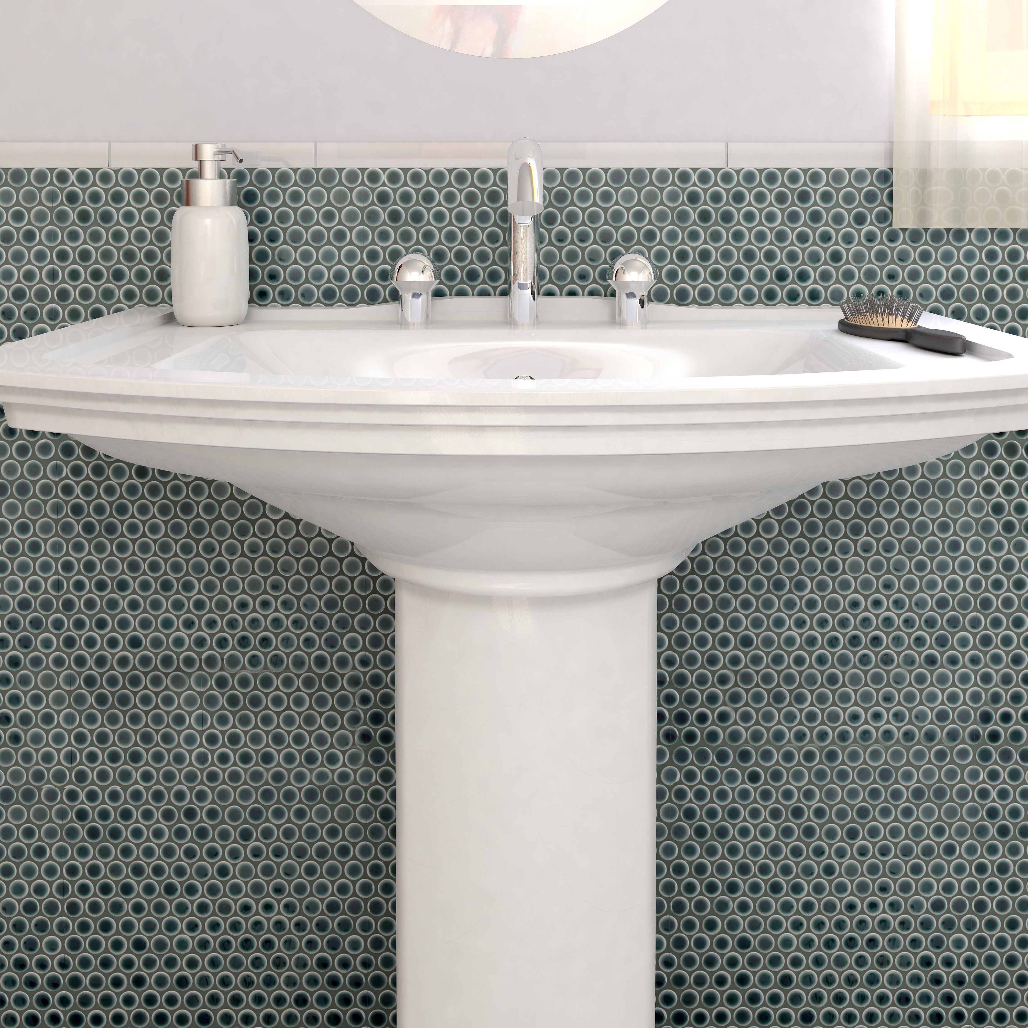 SomerTile 12 x 12.625-inch Penny Emerald Porcelain Mosaic Floor and ...