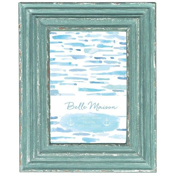 Distressed Picture Frame, Blue ($9.99) ❤ liked on Polyvore featuring home, home decor, frames, blue, blue frames, weathered frames, colored frames, distressed frames and distressed picture frames
