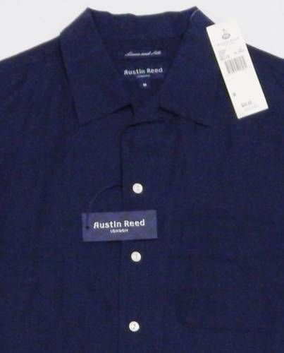Nwt Men 039 S Austin Reed Loop Collar Shirt Medium Blue Silk Linen Short Sleeve 90 Collar Shirts Shirts Linen Shorts
