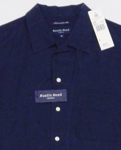 be193571 NWT-Men-039-s-AUSTIN-REED-Loop-Collar-Shirt -MEDIUM-Blue-SILK-LINEN-Short-Sleeve-90