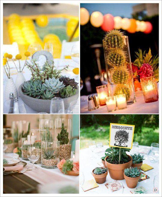 Fleur mariage centre de table cactus plante grasse - Table plante ...