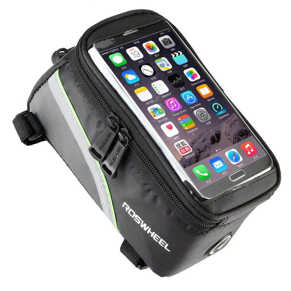 """ROSWHEEL 4.8 """"5.7"""" Vélo Vélo sacs De Vélo sacoches Cadre Avant Tube Sac Pour Téléphone portable VTT Vélo Écran Tactile Sac livraison gratuite"""