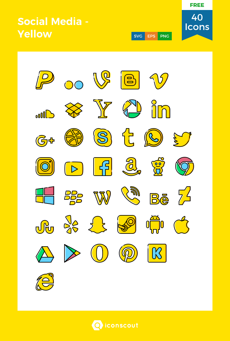 Social Media Yellow Free Icon Pack 40 Filled Outline Icons Free Icon Packs Social Media Logos Social Media