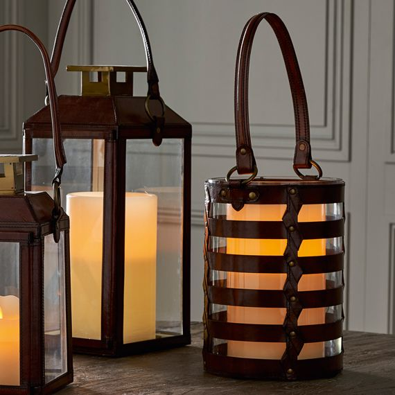 Saddle Leather Strap Hurricane Lamp
