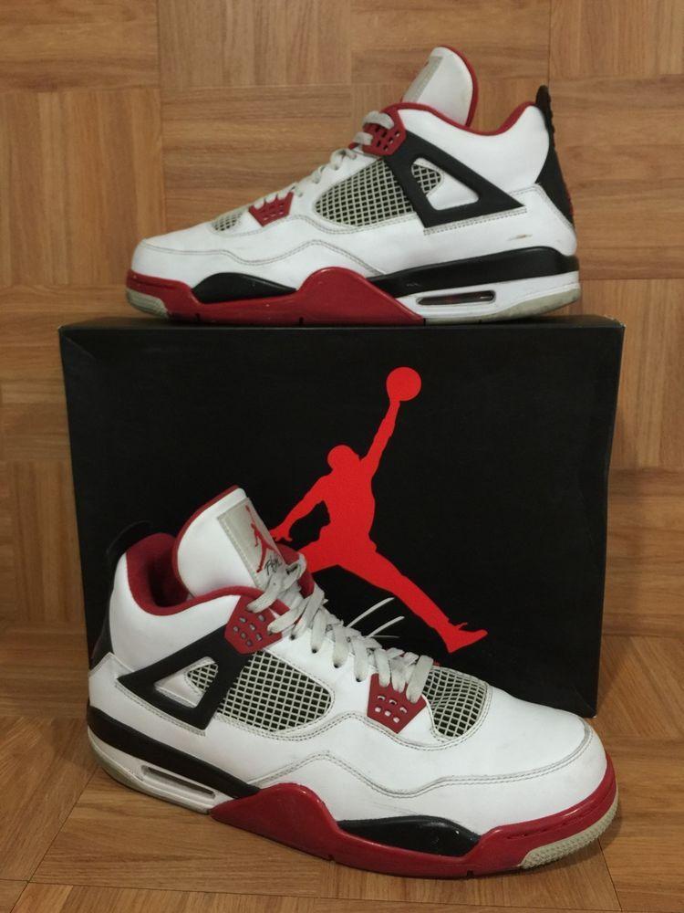 845e5e98d4bf RARE🔥 Nike Air Jordan 4 IV Retro White Varsity Red Black Sz 14 308497-110  Worn