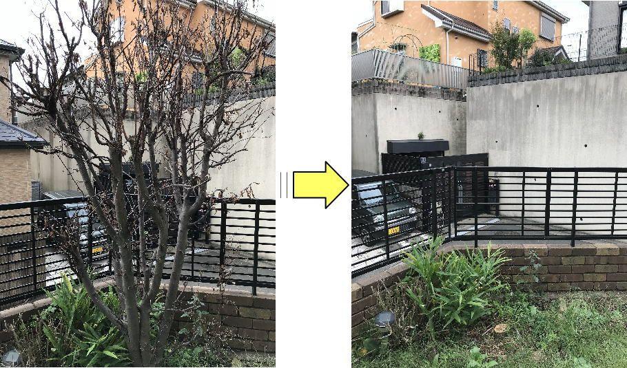横浜の個人邸伐採作業 フラワーライフ研究会 伐採 ライフ フラワー