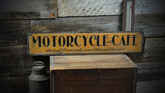 Orange And Black Motorcycle Cafe Sign Rustic Hand Made Etsy In 2020 Vintage Wooden Signs Cafe Sign Wooden Signs