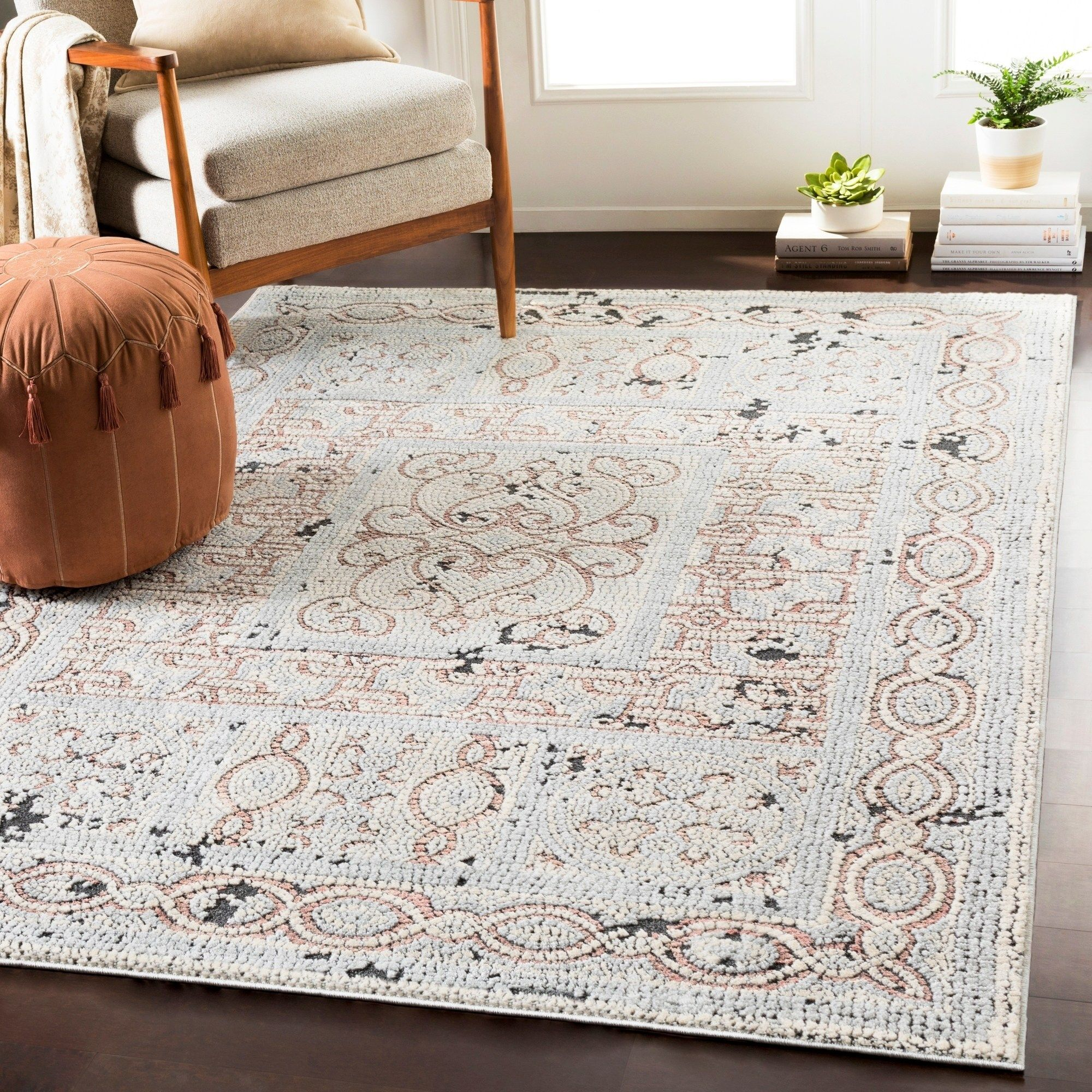 Lucca Beige Gray Distressed Mosaic Area Rug 6 7 X 9 6 6 7