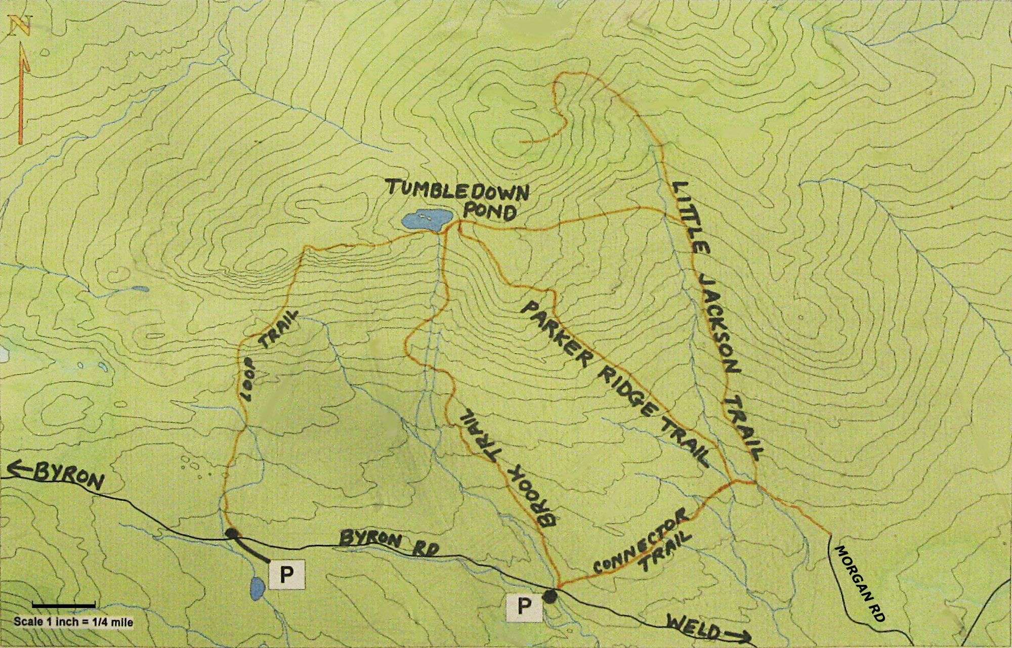 Tumbledown Mountain Trail Map Weld Farmington Area Pinterest