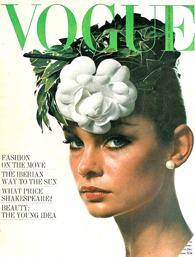 Jean Shrimpton, camelia and green leaves from Phillipe Venet, cover by David Bailey, April 1964