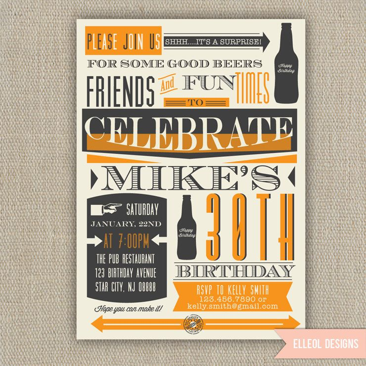 21st, 30th, 40th, 50th, 60th Surprise Beer Birthday Party Invitation ...
