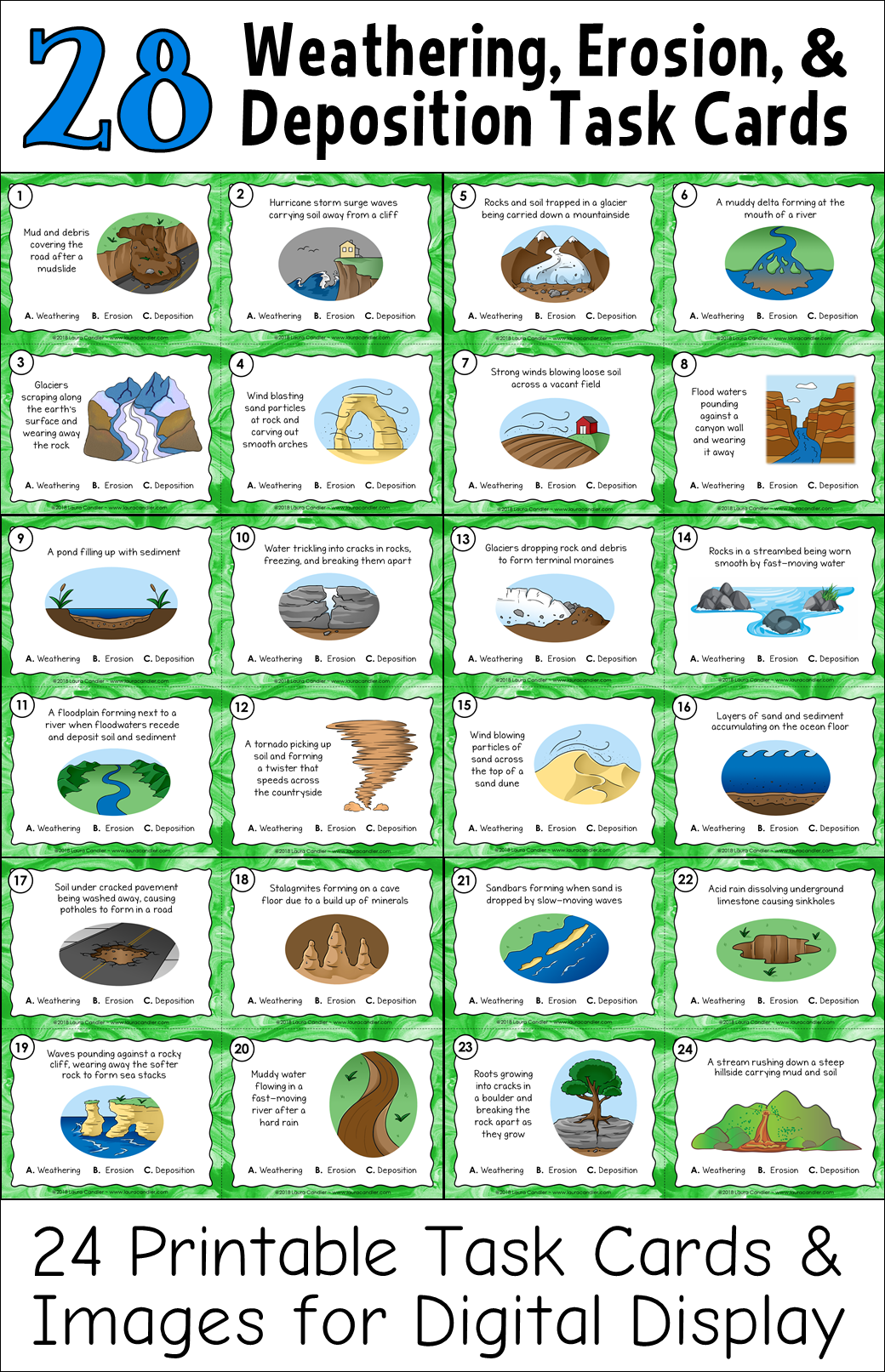 Weathering And Erosion Task Cards With Images And Classroom Quizzes