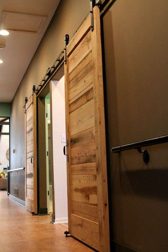 Love Barn Doors I Like How They Look When Mixed With Modern And Transitional Styles Barn Doors Sliding Barn Door Designs Contemporary Interior Doors