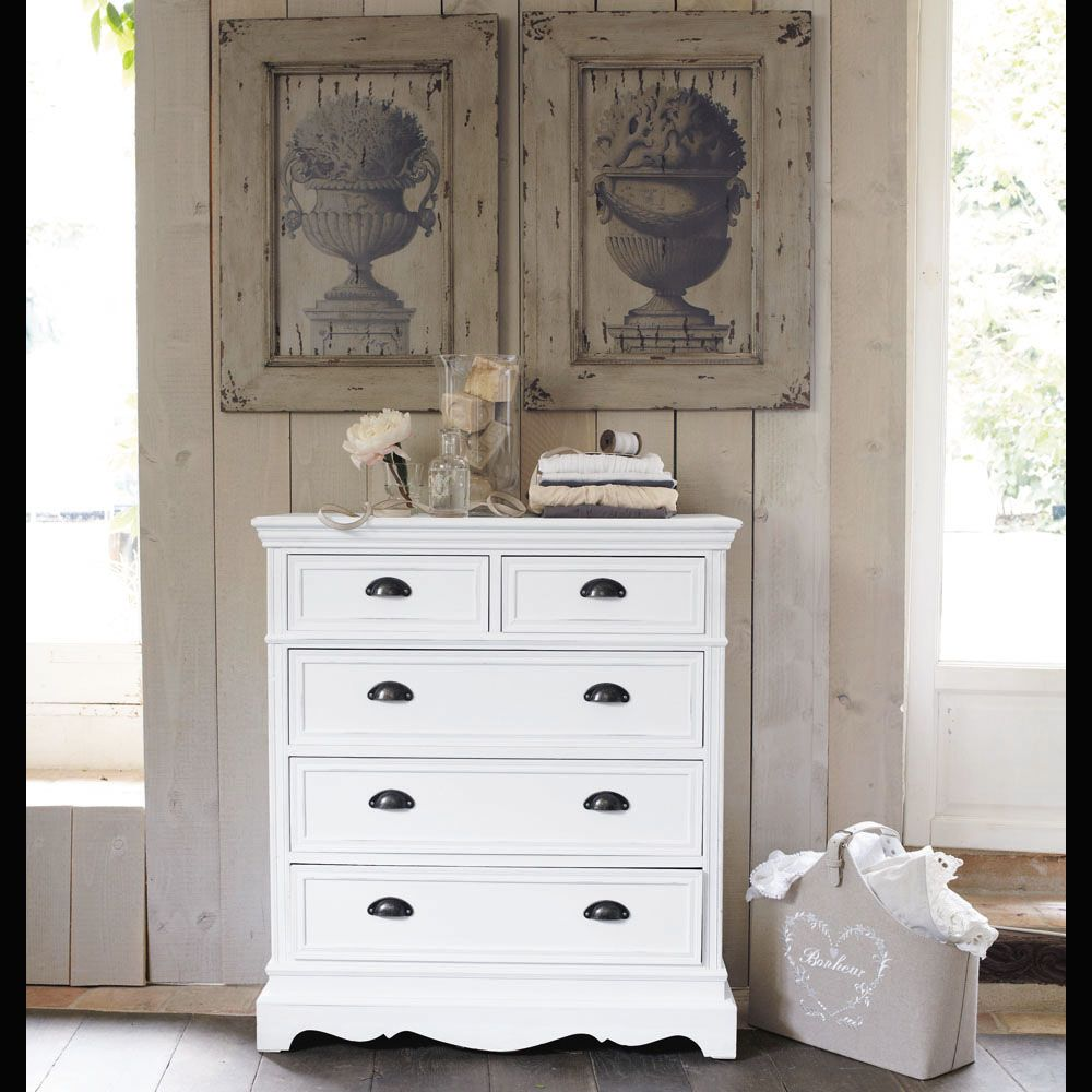 Commode 5 Tiroirs Blanche Ma Chambre